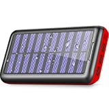 Power Bank Portable Solar Charger - 22000mAh with Dual Input & 3 USB Output Solar Charger, High-Speed Charging Technology Battery Pack for iPhone, Samsung Galaxy and More (red)