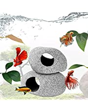 Llglmypet 2 Pieces Aquarium Decoration Rock Caves and 6 Pieces Fish Leaf Pad Simulating The Natural Habitat Hiding Breeding Spawning Cave Stones Toys Fish Rock House for Shrimp Cichlid Betta Fish