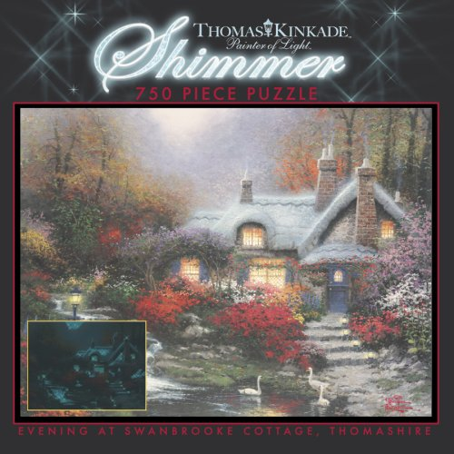 750 Piece Thomas Kinkade Shimmer-Evening at Swanbrooke Cottage, Thomashire