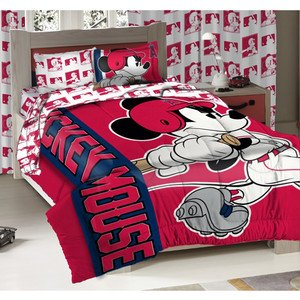 Northwest Los Angeles Angels MLB and Disney Mickey Mouse Twin Sized Comforter with Sham. - Mickey Mouse Baseball