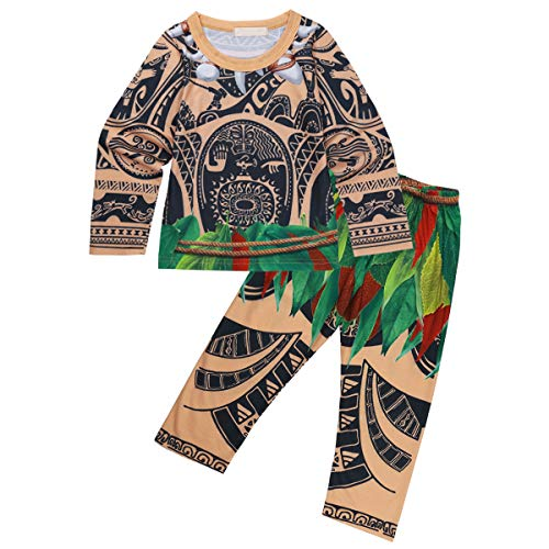 CHICTRY Toddler Little Boys Maui Cosplay Cartoon Loose Fit Shorts/Pants Pajama Set 2 Piece Dress up