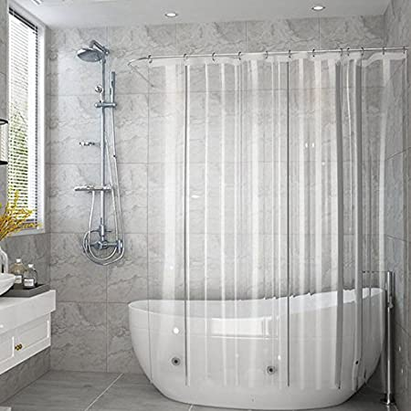 EurCross Clear Shower CurtainMould Proof Extra Long Curtain Liner With 3 Weighted Magnets