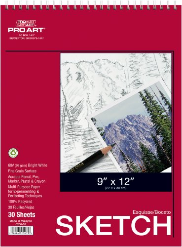 Price comparison product image Pro Art 9-Inch by 12-Inch Sketch Paper Pad,  30 Sheets
