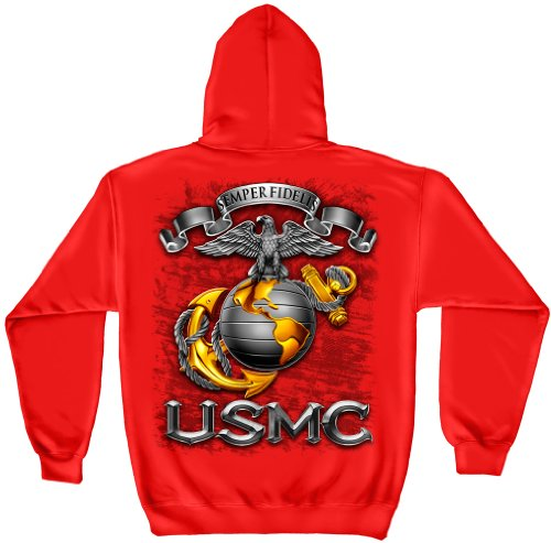 US Marine Corps Hooded Sweatshirt, 100% Cotton Casual Mens Shirts, Show Your Pride With Our USMC Marine Corps Usmc-Semper Fidelis Long Sleeve Sweatshirts for Men or Women (X-Large)