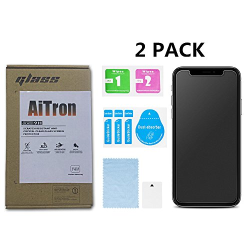 iPhone X / iPhone 10 Matte Tempered Glass Screen Protector [2 Pack] AiTron Anti-Glare/Anti-Fingerprint No Dazzling/2.5D Rounded Edges/9H Hardness/Scratch Proof/3D Touch