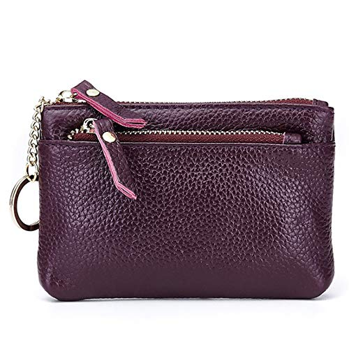 MYCHOME Women's Mini Coin Purse Ladies Leather Zipper New Multi-Function Lychee Pattern Small Wallet Key Coin Bag (Color : Purple)