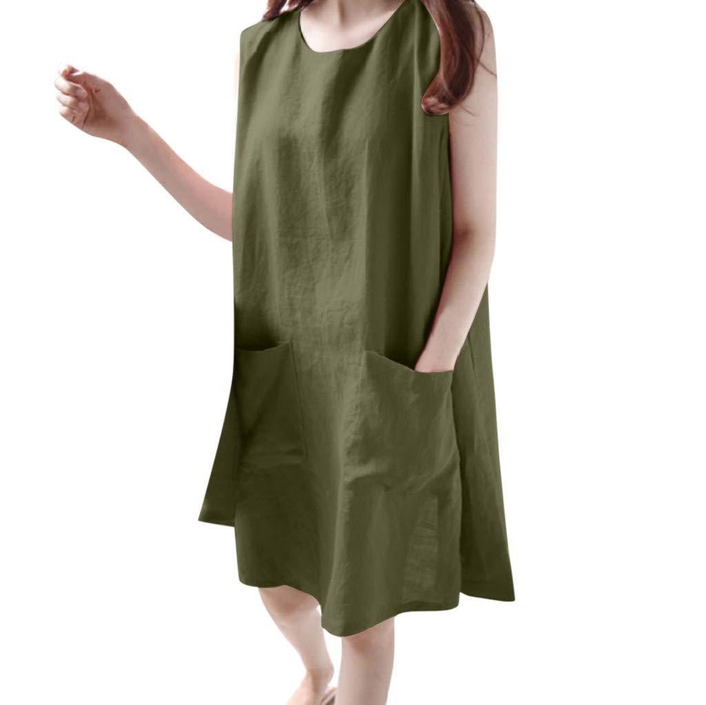 KANGMOON Women Summer Dress Fashion Women O-Neck Sleeveless Solid Loose Pockets Cotton Linen Casual Dress