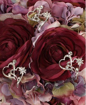 Double Heart Rhinestone Crystal Bouquet Jewelry Package of 1