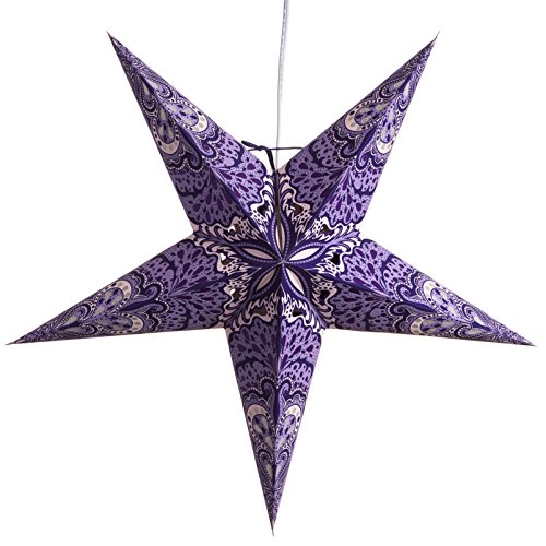 12' Paper Lanterns (Purple Charm Paper Star Lantern with 12 Foot Power Cord Included)