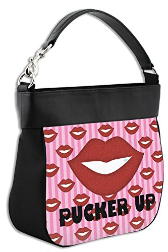 Up w Purse Pucker Lips Front Genuine Leather Hobo Trim amp; Back 5wUIqg