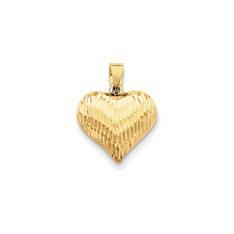 14k Gold Diamond-cut Puffed Heart Charm Pendant (0.79 in x 0.63 in)