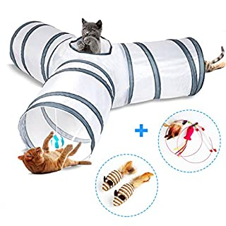 Cat Tunnel, Cat Tunnels for Indoor Cats, Tube Cat Toys 3 Way Collapsible, Kitty Tunnel Bored Cat Pet Toys Peek Hole Toy Ball Cat, Puppy, Kitty, Kitten, Rabbit