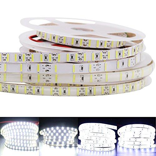 XUNATA 16.4ft LED Flexible Light Strip 600 Units SMD 8520 LEDs, 12V DC waterproof, Light Strips, LED ribbon, DIY Christmas Holiday Home Kitchen Car Bar Indoor Party Decoration (Waterproof)