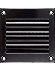Vent Systems 4x4 inch Air Vent Cover - Black - Metal Air Return Grill with Built in Pest Guard Screen HVAC Vent Cover for Home Improvement Vent Duct Cover 100x100 mm