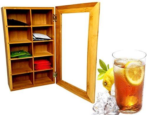Bamboo Tea Storage Box - Tea Bag Organizer - Perfect for Tea Lovers (14.5'' x 8'' x 4'')