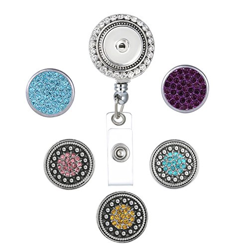 Retractable Badge Reel Holder with Clip, 27 inch Retractable Cord, with 5pcs DIY Snap (Reel Charm)
