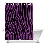 Pink Zebra Print Shower Curtain InterestPrint Pink and Black Zebra Print Background Art Bathroom Decor Shower Curtain with Hooks, 69 x 84 Inches Extra Long