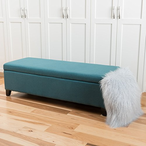 Christopher Knight Home 299437 Living Charlotte Dark Teal Fabric Storage Ottoman, Dimensions: 19.25