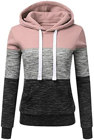 Sunhusing Women's Three-Color Stitching Long-Sleeve Drawstring Pullover Blouse Casual Hooded Sweatshirt Tops