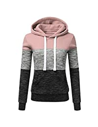 AMOUSTORE Hoodies,Ladies Plain Hoodie Womens Hooded Top Long Sleeves Front Pockets Soft for Teen Girls