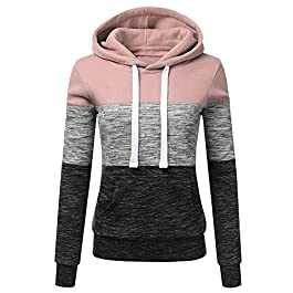 JERFER New Store Womens Hoodies Sweatshirt Patchwork Ladies Hoodies Sweatshirt Pullove