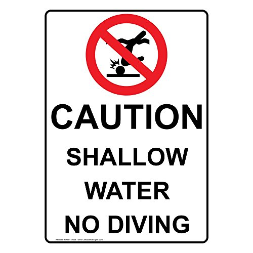 ComplianceSigns Vertical Aluminum Caution Shallow Water No Diving Sign, 14 x 10 in. with English Text and Symbol, White - Diving Sign
