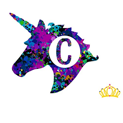 Letter C Monogram Unicorn Decal for Yeti Cup, Tumbler, Laptop, or Car - 3 inch height