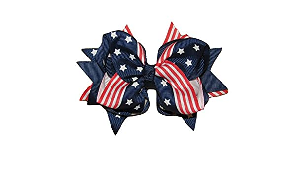 "NEW /""Stars /& Stripes/"" Hairbow Grosgrain Ribbon Hair Bow Girls 4th of July"