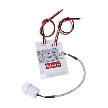 Besttse - Sensor de movimiento PIR TDL-2012 IR infrarrojos detector de inducción 12VDC