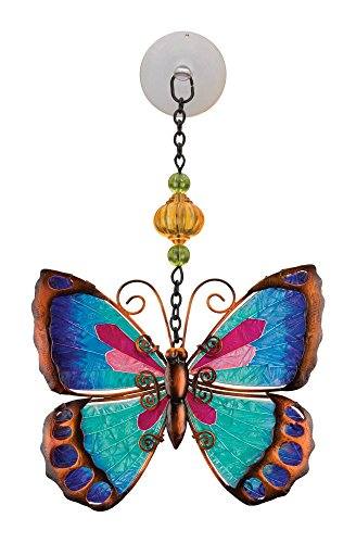 (Regal Art & Gift Green Butterfly 6.25 inches x 1 inch x 9.75 inches Metal Glass Plastic Sun Catcher - Hanging Garden Accessories)