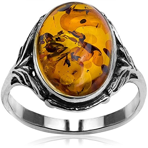 (Sterling Silver Amber Oval Ring)