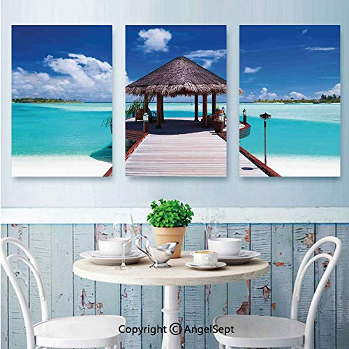 AngelSept 3 PCS Canvas Wall Art,Jetty and The Ocean View on Tropical Caribbean Island Beach Resort Image,for Home Decor,16