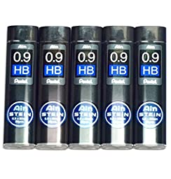 Pentel Ain Pencil Leads 0.9 mm HB, 36 Leads X 5 Pack/total 180 Leads (Japan Import) [Komainu-Dou Original Package]