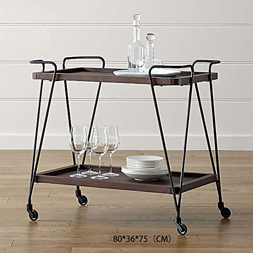 Kitchen Cart European Wrought Iron Hotel Dining Car, Trolley Wine Rack Multi-Function Rack Home Trolley with Wheels (603575cm) by Kitchen Cart (Image #4)