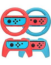 [4 stuks] Grip voor Nintendo Switch Controller, afdekking Nintendo Switch met 2 stuurwielen en 2 greepafdekkingen met Nintendo Switch JoyCon en Mario Kart 8 Deluxe (Rood + Blauw)