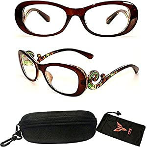 (#PSTS) Women Transparent Colorful Art Fashion Designer Trendy Reading Glasses Readers Optic Frame Clear Lens (Strength: 1.75)
