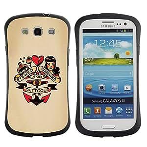 LASTONE PHONE CASE / Suave Silicona Caso Carcasa de Caucho Funda para Samsung Galaxy S3 I9300 / pin up heart doll anchor woman tattoo