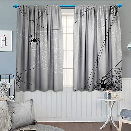 Chaneyhouse Spider Web Blackout Window Curtain Spiders Hanging from Webs Halloween Inspired Design Dangerous Cartoon Icon Customized Curtains 72