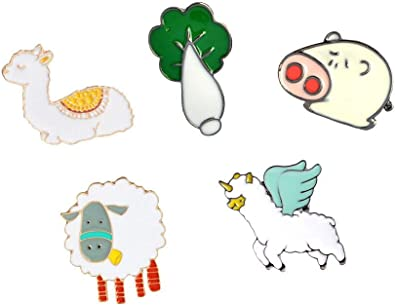 GuassLee Enamel Lapel Brooches Pin Set Cute Cartoon Pins for Backpacks Clothes Bags Jackets Hat Jewelry DIY Accessories Decoration 5pcs Lovely Animal and Plant Series Brooch