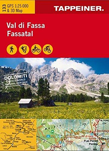 KOKA133 Kombinierte Wanderkarte Fassatal (Kombinierte Sommer-Wanderkarten Südtirol)