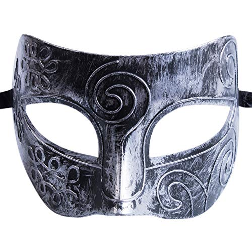 Mask Venetian - 2019 Roman Greek Mask Men Fancy Halloween Costume Party Masquerade Gold Silver - Over Women Unicorn Couples Adults Sticks Feathers Birthday Blue Animal Full Black Party ()