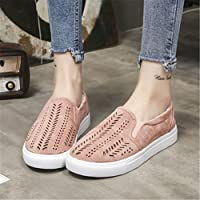 OrliverHL  Zapatos Hollow Out PU de piel Loafers Mujer Casual Flats Slip en Lazy grueso zapatos