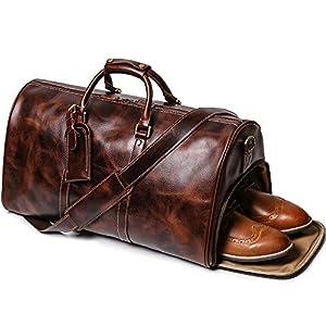 LEATHFOCUS Overnight Travel Leather Duffle Bag 4