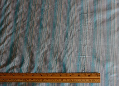 (White & Blue Tissue Taffeta Stripes, 100% Silk Fabric, By The Yard, 44