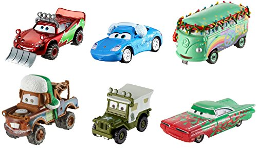 Disney Pixar Cars Diecast Holiday Collection (6 Pack) Lightning McQueen, Mater, Sarge, Fillmore, Ramone, & Sally