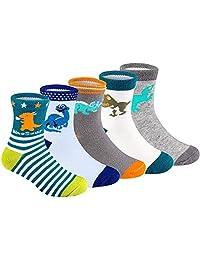 Boys Socks,US ABEL 5 Pairs Cute Cotton Dinosaur Kids Socks 2 Year-9 Years