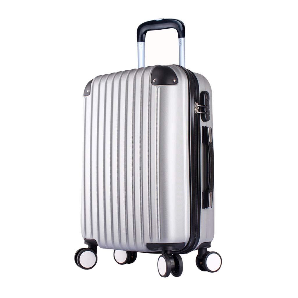 キャビン荷物| キャリーオンスーツケース| 超軽量の旅行は4つの車輪が付いている小屋手荷物スーツケースを続けます(銀製灰色) B07MMGYLGF  40*24*60cm