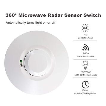 Tutmonda DC 12V-24V 5.8GHz Detector de Movimiento por inducción del Cuerpo Humano Interruptor luz Radar microondas 360 ° SK-701K-DC: Amazon.es: Electrónica