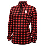Crable Adult NCAA Women's Campus Specialties Quarter Zip Buffalo Check Fleece, Red/Black, X-Large