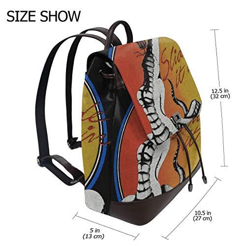 (Whitesnake Slide It In Tour Concert Fashion Design Leather Backpack For Women Men College School Bookbag Weekend Travel Daypack)